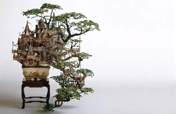 Takanori Aiba: Dvorci na bonsai stablima – video